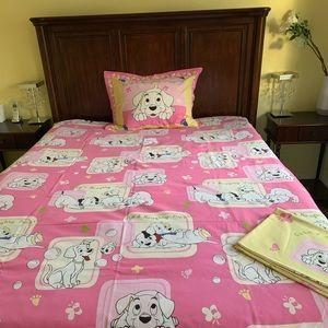 Pink & White Twin Duvet cover Set cute puppy print